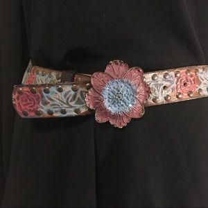 "Arden B Leather Belt 40"" Stained w/ Flower Buckle"